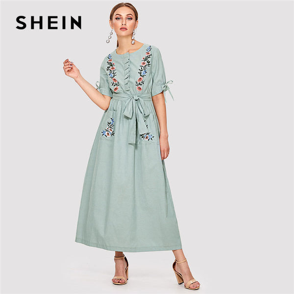 c414dbd1caca6 SHEIN Floral Embroidered Pocket Hijab Dress Green Round Neck Short Sleeve  Women Casual Maxi Dress 2018 Spring Elegant Long Dress