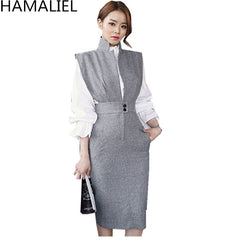 Women 2 Piece Set Dress New 2018 Autumn White Ruffles Stand Collar Blouse Top + Gray Sleeveless Notched Collar Pencil Skirt Set