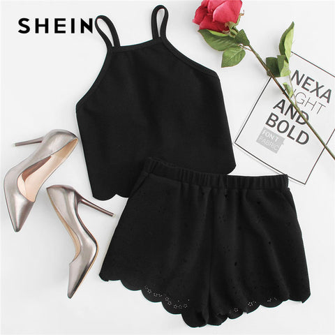 SHEIN Scallop Trim Cami Top And Laser Cut Out Shorts Set 2018 Black Spaghetti Strap Sleeveless Women Stretchy 2 Pieces Sets
