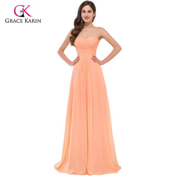Grace Karin Orange Chiffon sexy cheap Long Bridesmaid Dresses 2018 Ruched Elegant Prom dresses under $50 for wedding