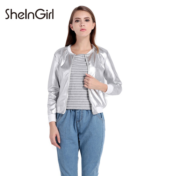 SheInGirl Spring Autumn Bomber Jacket Women Silver Basic Jacket female Zipper Fly Casual Coat Chic Outwear Streetwear