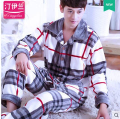 Pyjama For Men Winter O-Neck Long Sleeve Thick Warm Flannel Pajamas Sets Home Suits Sleep Tops & Bottoms Male Sleepwear Homewear