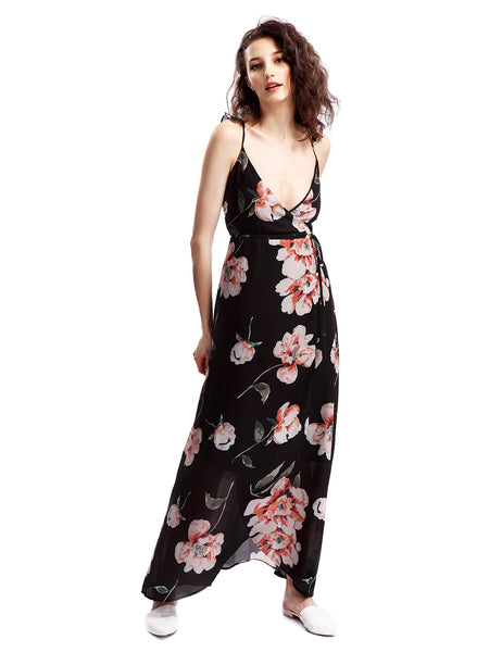 Avoir Aime Women's Floral Printed Wrap Style Maxi Dress With Ruffle Cap Sleeve
