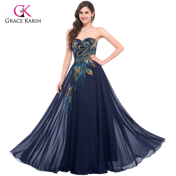 Peacock Bridesmaid Dresses 2018 Grace Karin Chiffon Plus Size Purple Royal Blue Long Prom Cheap Bridesmaid Dresses Under 50