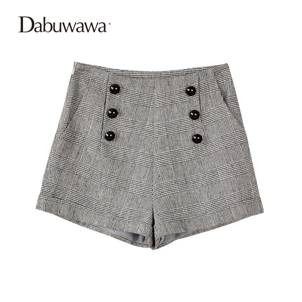 Dabuwawa Grey Short Women Plaid Vintage Wool Shorts For Winter Ladies Plaid Shorts With Buttons Feminino