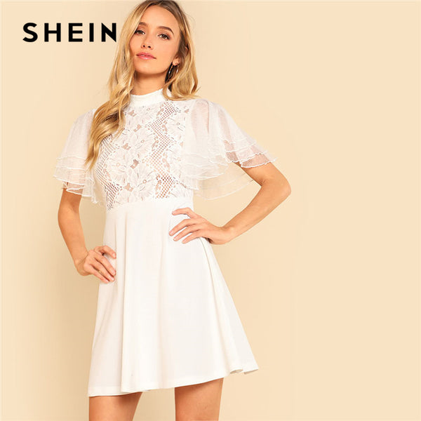 ddbd7af5f4 SHEIN Butterfly Sleeve Lace Bodice Dress Women White Stand Collar Shor
