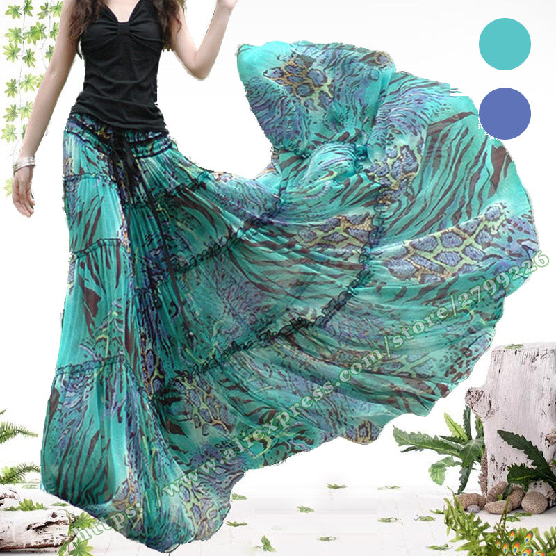 51bcd821e Product Image Summer Bohemia Casual Chiffon Tulle Splice Floral Printing Gypsy  BOHO Pleated Beach Maxi Skirts womens / Summer Bohemia ...