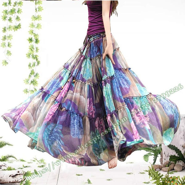 93ed772fc ... Summer Bohemia Casual Chiffon Tulle Splice Floral Printing Gypsy BOHO  Pleated Beach Maxi Skirts womens ...