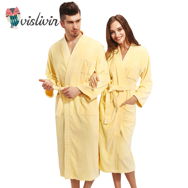 Vislivin 100% Cotton Couples Bathrobe Thick Unisex Bath Robe Winter Au 73e025ffc