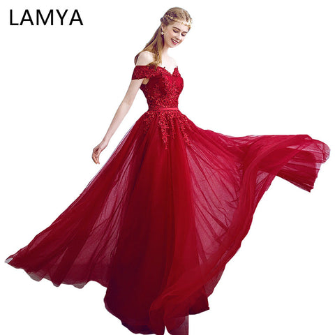 038ad8b9238 LAMYA 2018 New Arrived Women Beading Long Evening Dresses Elegant Lace Boat  Neck Banquet Sexy Formal
