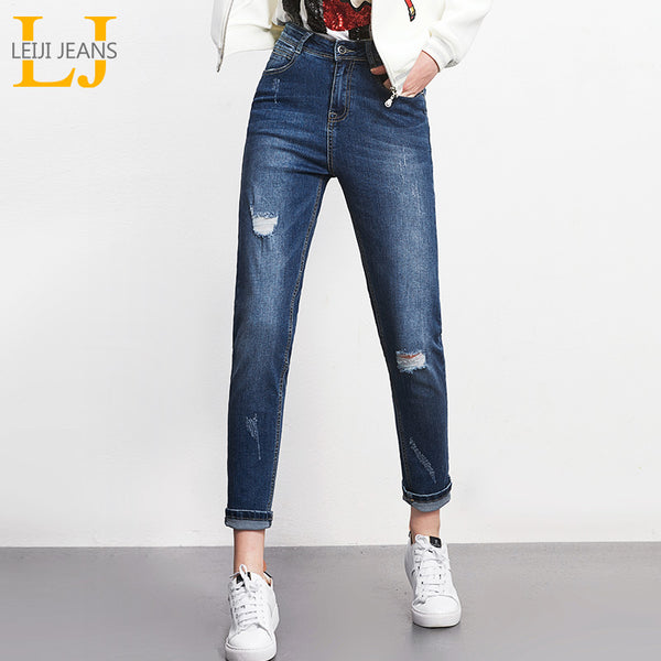 2018 LEIJIJEANS Spring Plus Size S-6XL Fashion Ripped Hole Bleached Mid Waist Full Length Blue Loose Harem Stretch Women Jeans