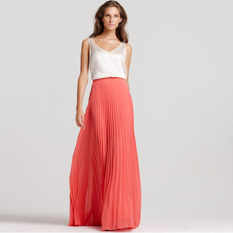 e03e844a7 Custom Made Coral Chiffon Maxi Skirt High Waist Floor Length Pleated Long  Skirt for Women Summer