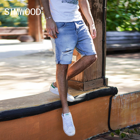 SIMWOOD 2018 Summer New Denim Shorts Men Slim Fit Ripped Hole Fashion Jeans Trousers Male  Plus Size Brand Clothing 180127