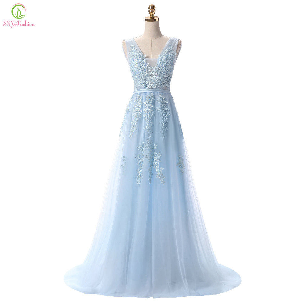 SSYFashion Hot Sell Sweet Light Blue Lace V-neck Lacing Long Evening D