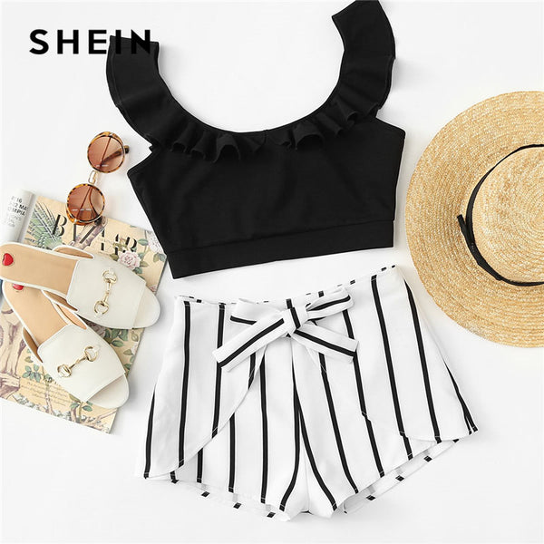 a039acda73 SHEIN Ruffle Crop Top & Knot Striped Shorts Set Women Scoop Neck Sleev