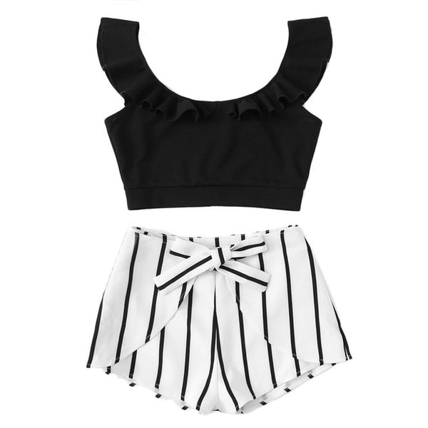 c0b709577d ... SHEIN Ruffle Crop Top & Knot Striped Shorts Set Women Scoop Neck  Sleeveless Zipper 2 Pieces