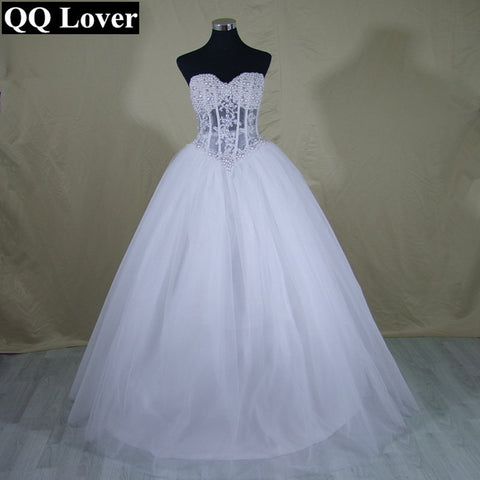 0278930332ba QQ Lover Sexy Perspective Wedding Dresses Ball Gown Pearls Bridal Gown Lace  Up Back Tulle