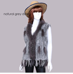 Pudi women genuine natural real  rabbit vests coats Rex rabbit  fur with raccoon fur collar  winter waistcoat/jackets vr001