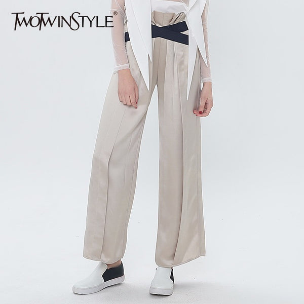 TWOTWINSTYLE Ruched Ruffles Trouser Women Elastic High Waist Wide Leg Pants Female Casual Clothes 2018 Spring Summer Large Size