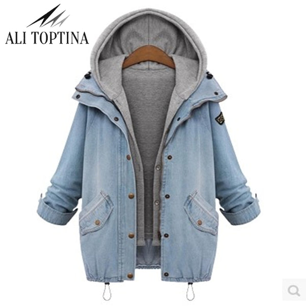 2018 Autumn Winter Hooded Women Twinset  Basic  Denim Jacket  Long Sleeve  Loose Female Jeans Coat Plus Size Vintage Outwear