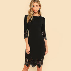 Sheinside Black Pencil Dress Women Half Sleeve Zip Back Hollow Out Bodycon Midi Dress 2018 Summer Ladies Elegant Party Dress
