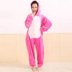 All in One Flannel Anime Stitch Pijama Cartoon Cosplay Warm Adult Unisex Homewear Onesies Animal Kigurumi Pajamas