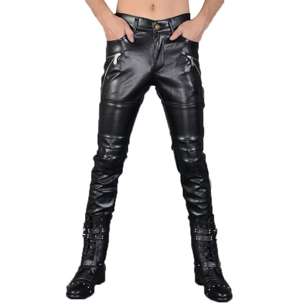 5d8d1bc6c3 ... Fashion Autumn&Winter Mens Skinny Leather Pants Faux Black Joggers Pants  Motorcycle Trousers For Men With Strings