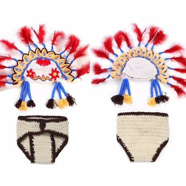 3D 0-6 Months Infant Cosplay Handmade Indian Chief Hat Diaper Cover Baby  Suit Photography Custume