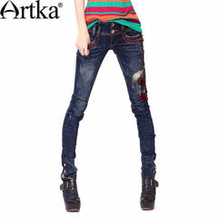Artka Women's Summer New Embroidery Handmade Decoration Slim Fit Washed Pencil Pants K810056Q