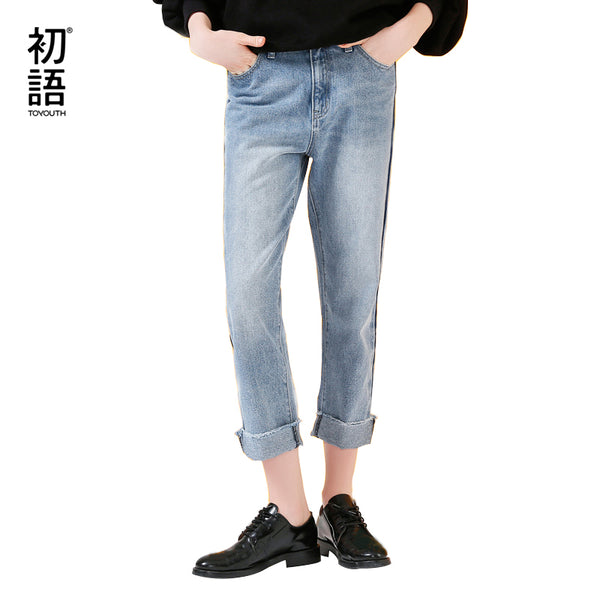 Toyouth Jeans 2017 Autumn Women Casual Straight Trousers Loose Light Blue Cotton Ankle-Length Pants