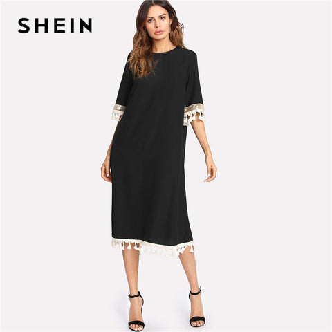 a21ab037cb SHEIN Black Sequin And Tassel Belted Dress Women Round Neck Half Sleeve  Button Loose Dress 2018