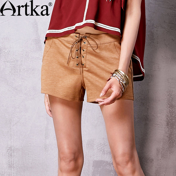 Artka Women's Summer New 3 Colors All-match Shorts Casual Drawstring Waist Comfy Shorts With Pockets ZA10366C