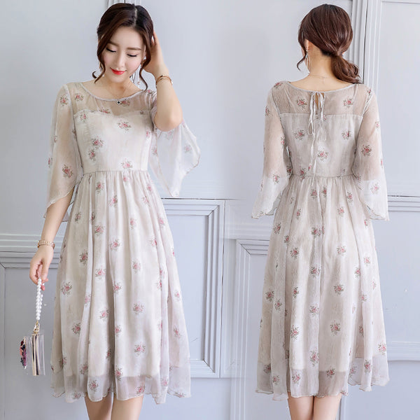 2018 New Summer Retro Rural Rose Women Dress Chiffon Printing Plus Size  Women\'s Clothing Three Quarter Sleeve O-neck Dresses