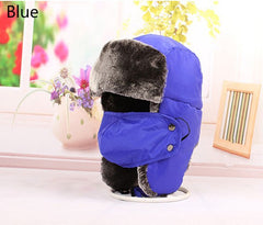 Free Shipping 2018 New Kids Children Fashion Winter Ski Russian Black Blue Fur Trapper Hats With Ear Flap Masks For Boys Girls