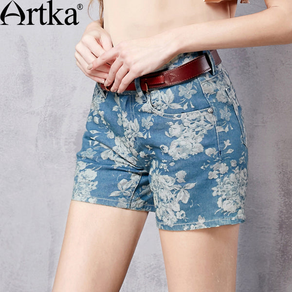 Artka Women's Summer New All-match Floral Printed Denim Shorts Vintage High Waist Breathable Shorts With Pockets KN15169C