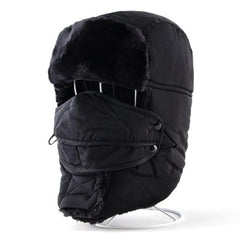 Winter Bomber Hats For Men And Women Aviator Trapper Thicker Faux Fur Cap Russian Outdoor Snow Hat With Ear Flaps And Face Mask