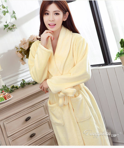 Couples Thickening Flannel Robe Lovers Male Or Female s Long-sleeve Autumn  And Winter Sleepwear Lounge 624d1f56f