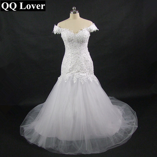 QQ Lover 2018 The Latest African Styles Very Nice Lace Mermaid Wedding  Dress With Video Custom-made Plus Size Wedding Gown