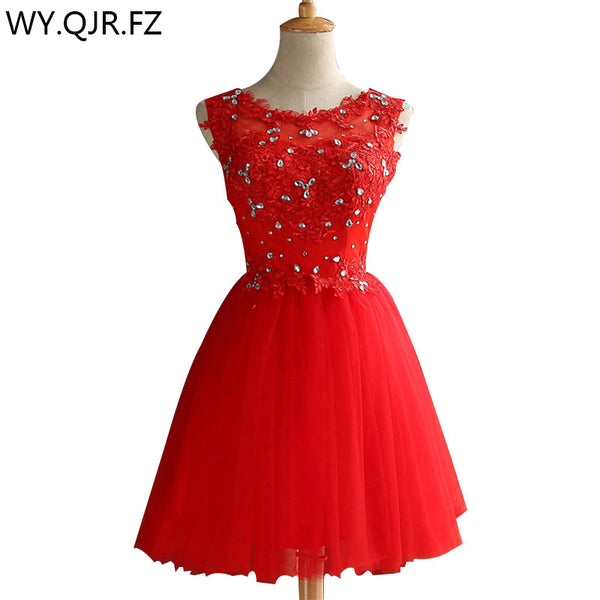 ZHHS-XZ#Lace up diamond short red bridesmaid dresses wholesale cheap w