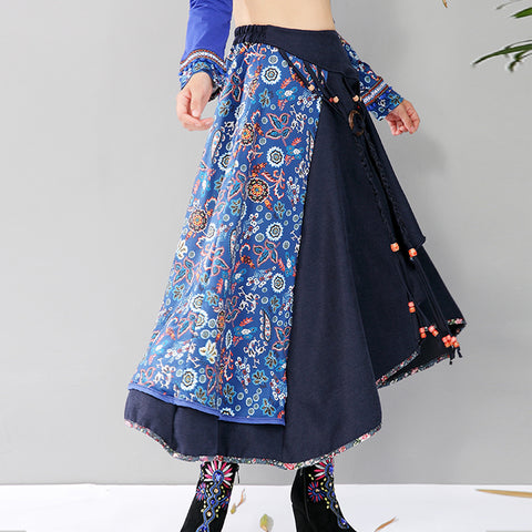 60c95d58e 2018 Spring And Autumn High Waist Ethnic Style Floral Women Skirt Long  Chinese Style Vintage Patchwork
