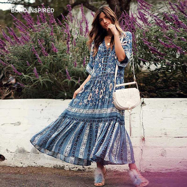 BOHO INSPIRED navy gown drop-waist silhouette flowing summer dress V-neck Kimino wide sleeve floral print women maxi dress 2018