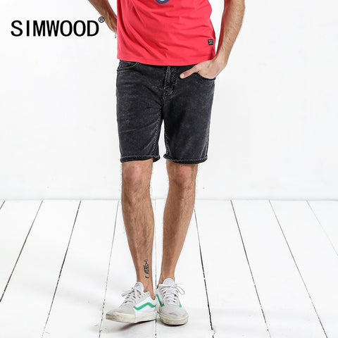 SIMWOOD 2018 Summer New Denim Shorts Men Solid Knee Length  Washed Jeans Slim Fit High Quality Vintage Brand Clothing 180198