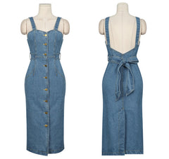 Zarachiel 2018 Sexy Sleeveless Backless Bow Tie Strap Jeans Dress Women Single-Breasted Suspender Denim Sundress Overall Dress