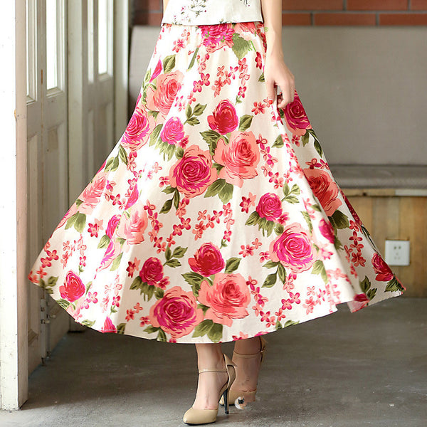 505684ba16c 2018 Women Summer Long Skirts Plus Size Vintage Elegant Linen Skirts M