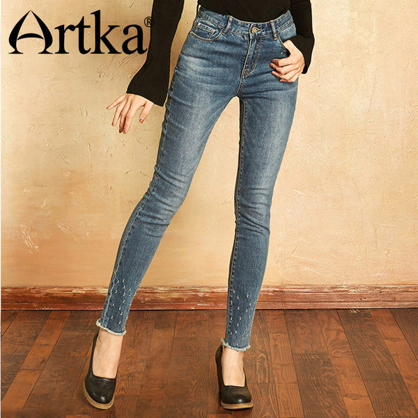 Artka 2018 Summer Vintage Embroidery Denim Elastic Middle Waist Tallie Small Foot Stretch Zipper Tight Pants KN11270Q