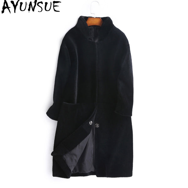 AYUNSUE Women's Fur Coat Natural Wool Female Jacket Sheep Shearling Coats Women 2017 Autumn Winter Long Trench Jackets WYQ1000