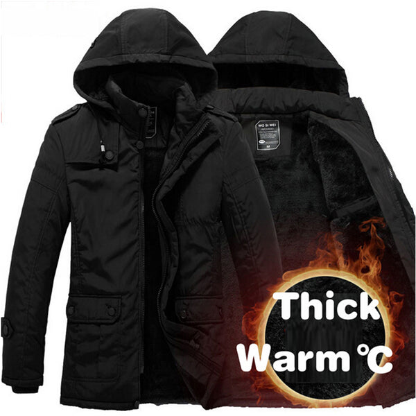 New Fashion Winter Men Thickening Casual Cotton Jacket Outdoors Waterproof Windproof Breathable Coat Parka Plus Size 3XL Jacket