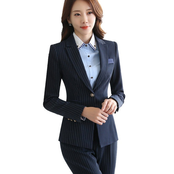 sale usa online select for genuine best sneakers Professional women stripes skirt suits set 2018 Fashion Interview Office  Lady long sleeve blazer with Skirt plus size work wear