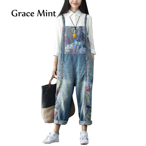 6f61319a1b 2018 Women's Wide Leg Jeans Full Length Loose Denim Overalls Washed Print  Ripped Hole Overalls