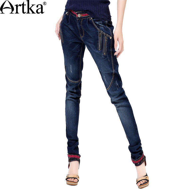 8b77998e1fd Product Image Artka Women Jeans With Embroidery Vintage Trousers Women 2017  Skinny Jeans Denim Pencil Pants Plus Size Artka Women ...